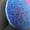 gehaakt kussens blauw zijaanzicht