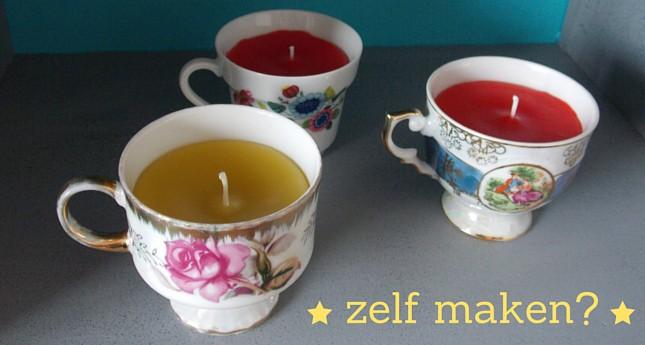 zelf kaarsen maken in een theekopje