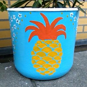 ananas bloempot verven