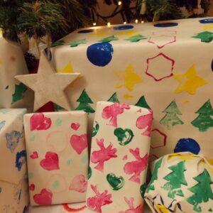 kerst inpakpapier stempelen