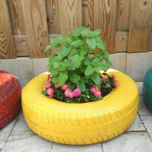 plantenbak maken autoband