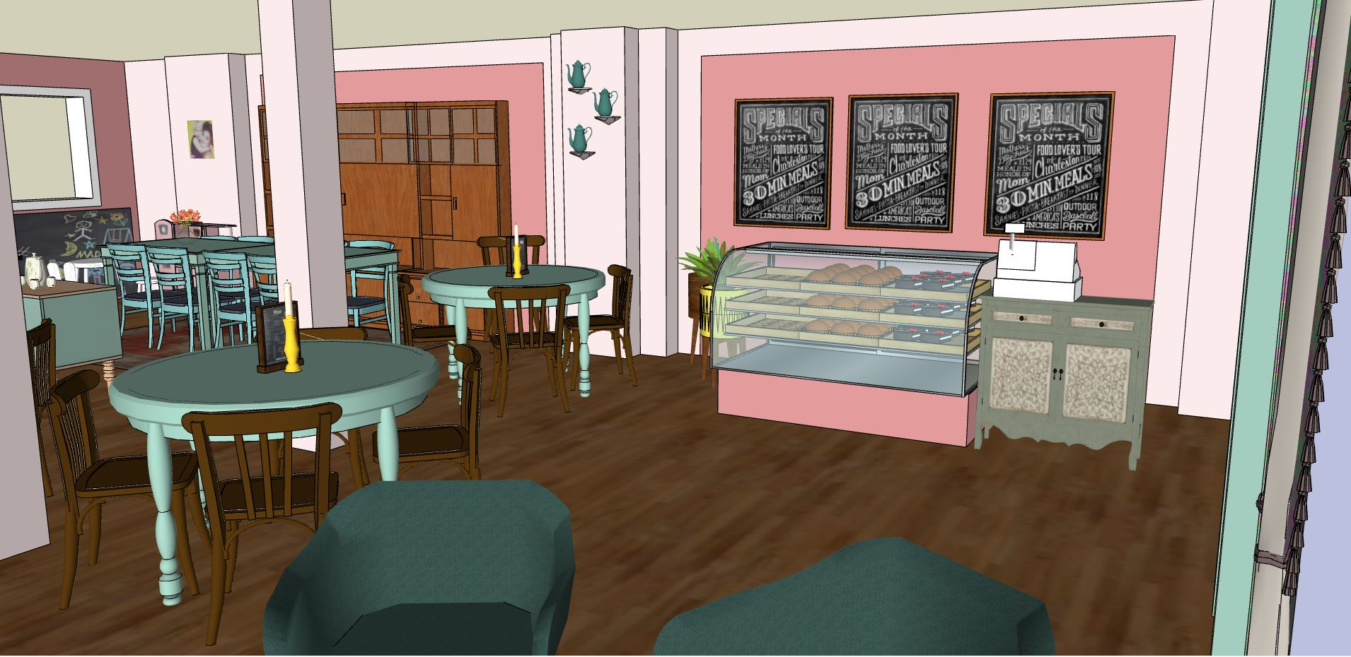 interieurontwerp lunchroom 3D