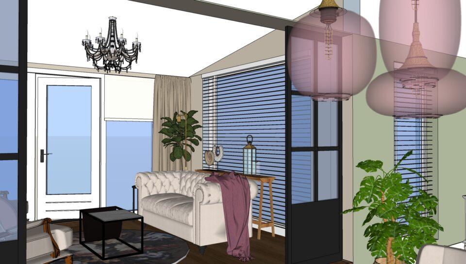 landelijke meubels en decoratie 3D visualisatie
