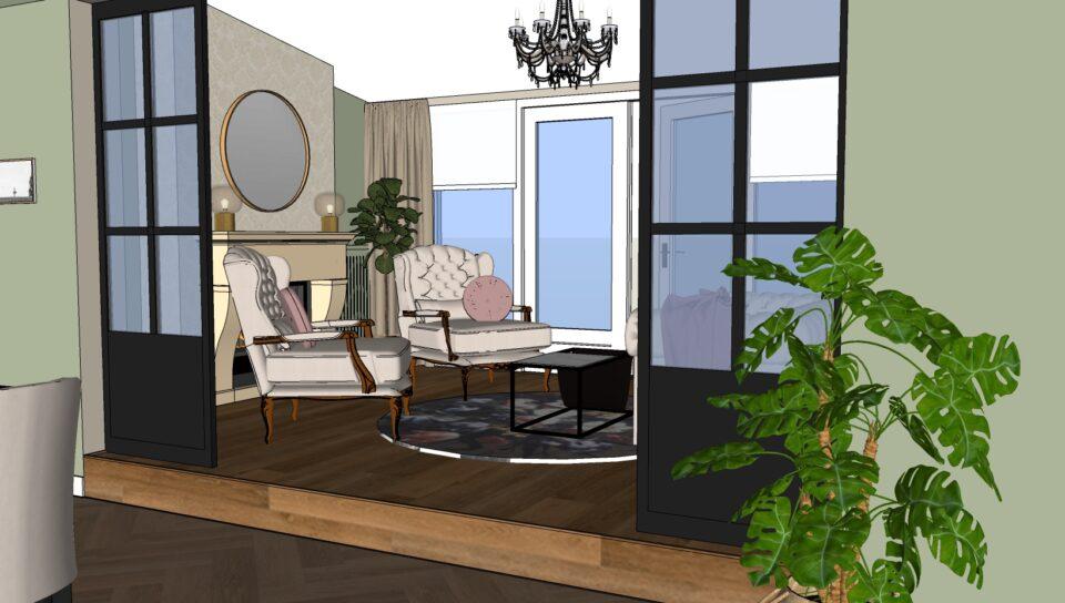 romantisch landelijke zitkamer met openhaard