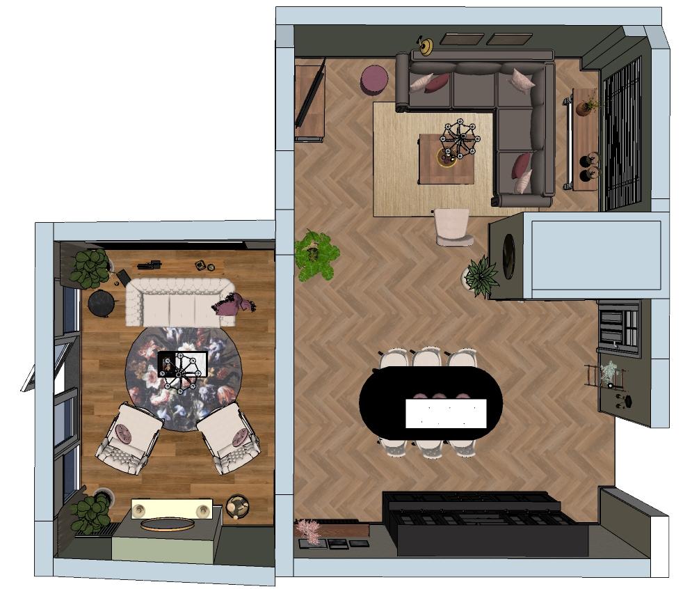 romantisch landelijk interieur plattegrond woonkamer met eethoek