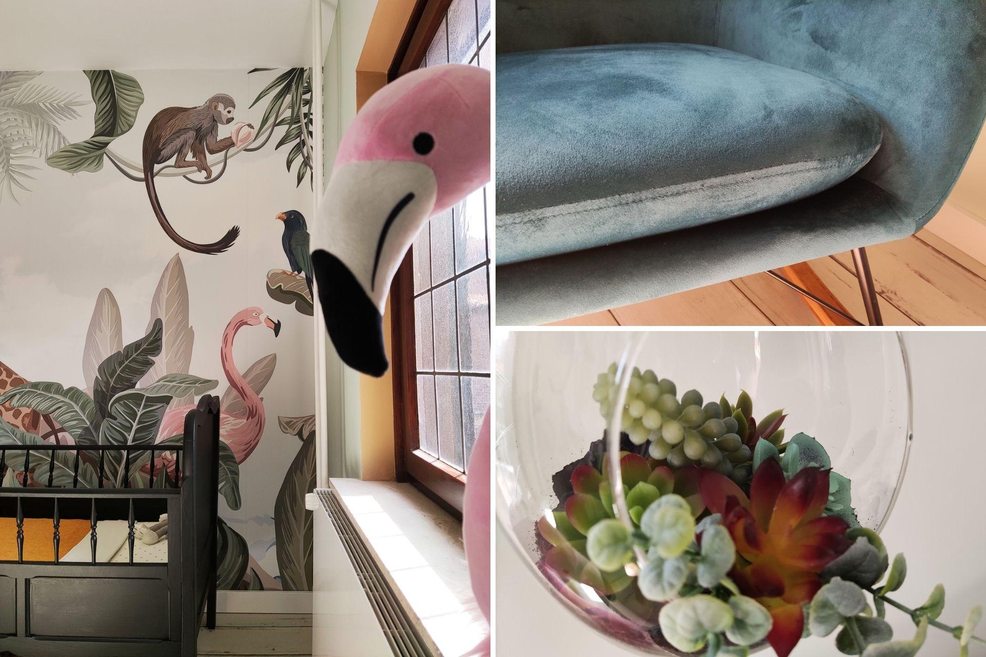 kinderkamer jungle thema wanddecoratie en schommelstoel