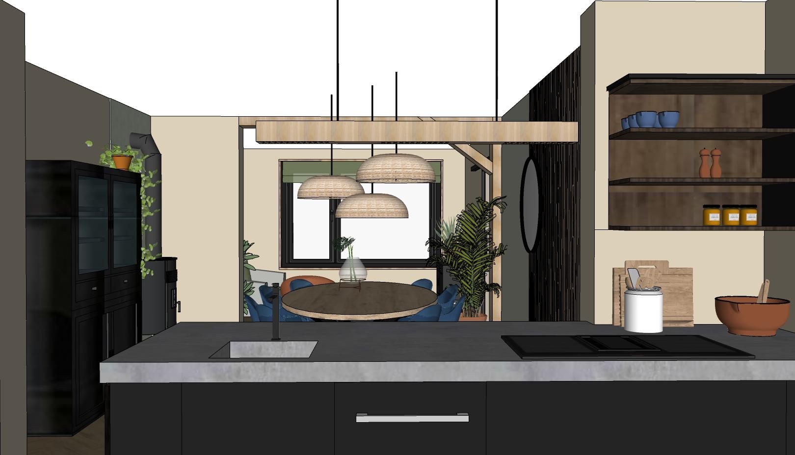 zwarte keuken met betonnen blad