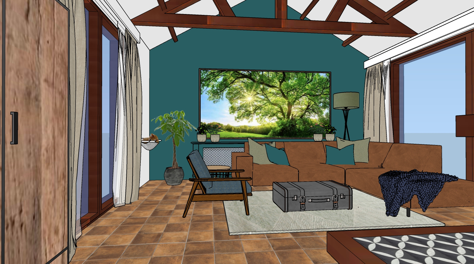 3D ontwerp zithoek woonkamer woonboerderij