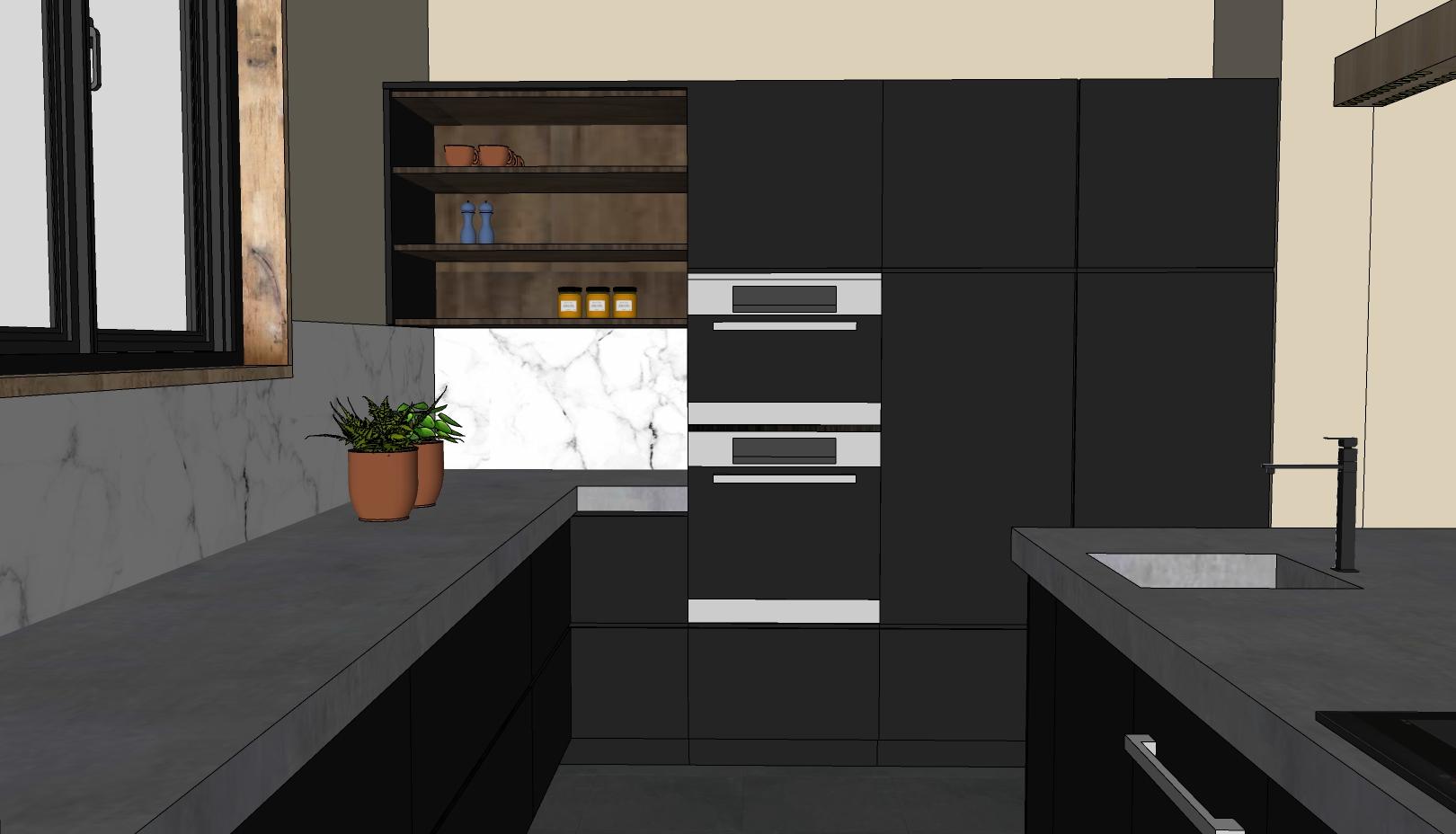 moderne leefkeuken met hoge kastenwand