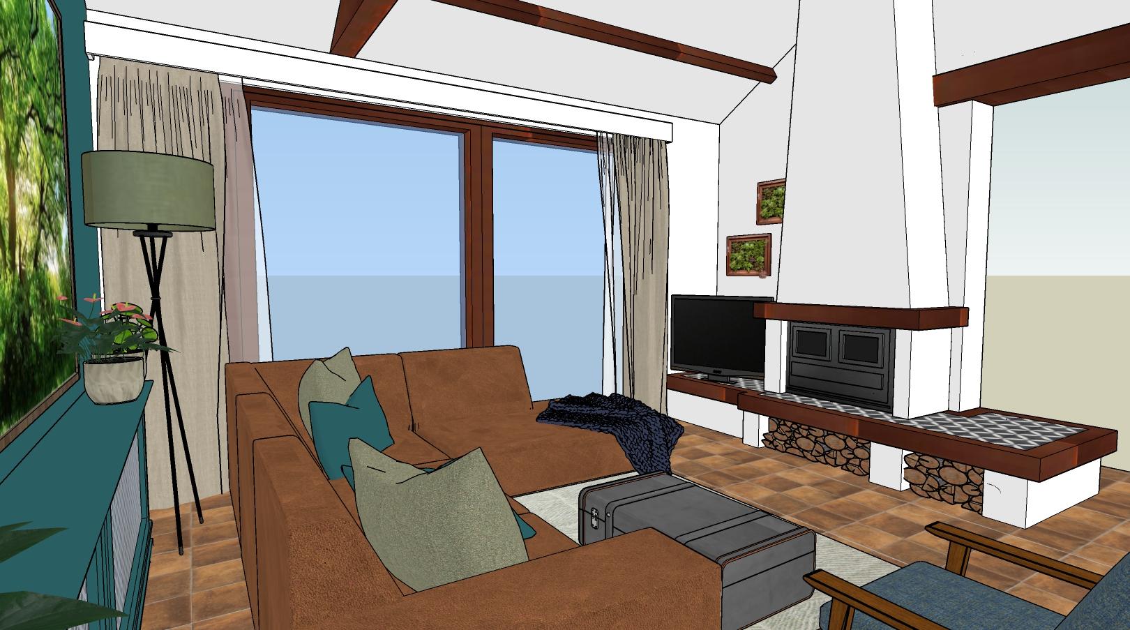 3d ontwerp woonboerderij woonkamer met openhaard