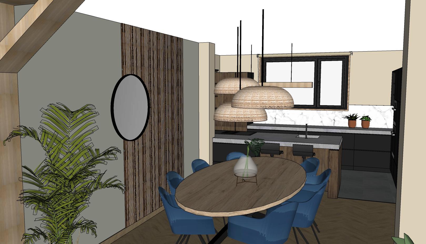ovalen eettafel met rieten hanglampen en houten paneelwand